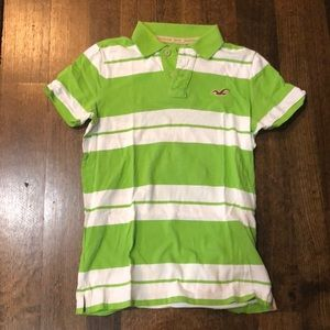 Hollister green and white polo